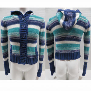 OP sweater XL 14/16 button front cardigan hooded